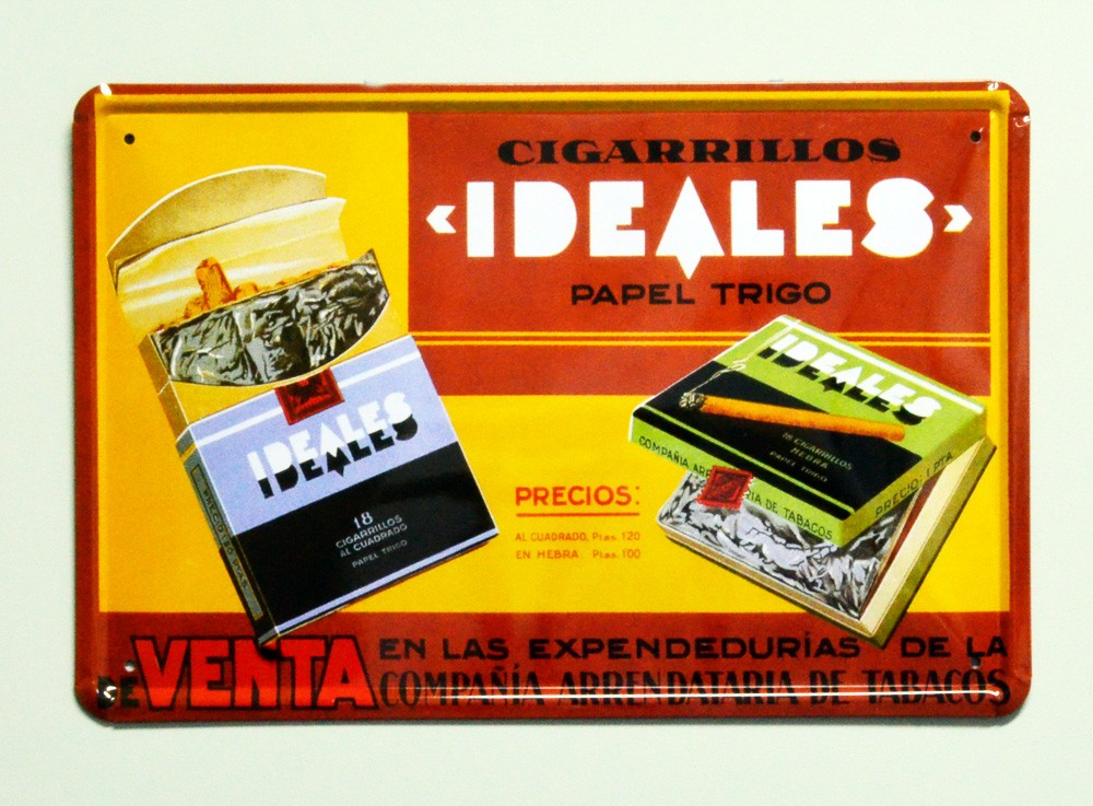 Cartel  Metálico Cigarrillos ideales