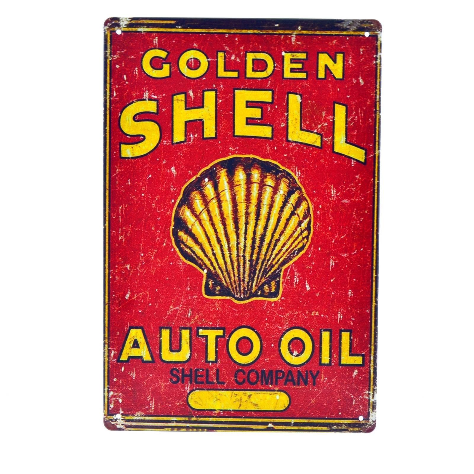 Cartel Metálico de Shell rojo