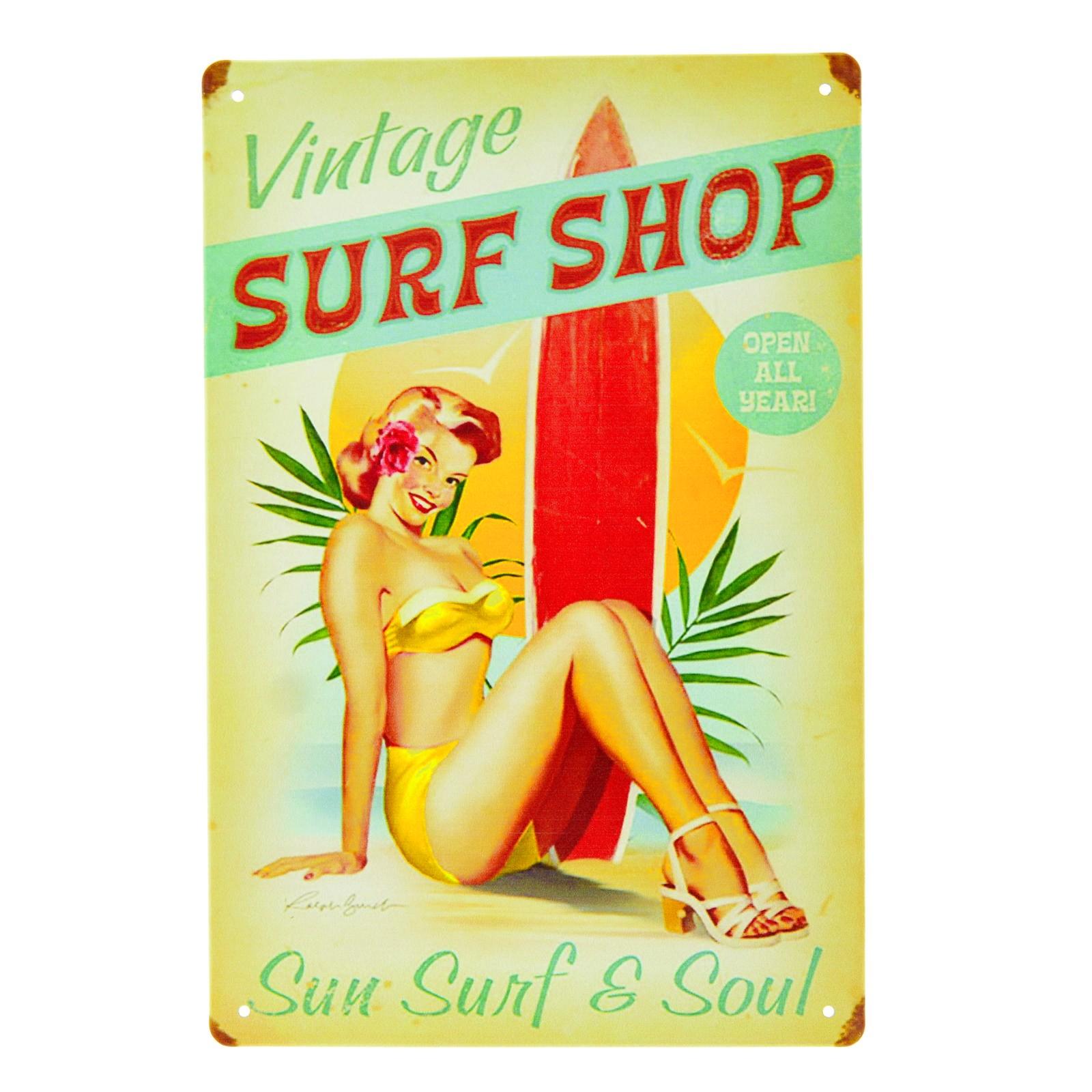 Cartel Metálico de Surf Shop