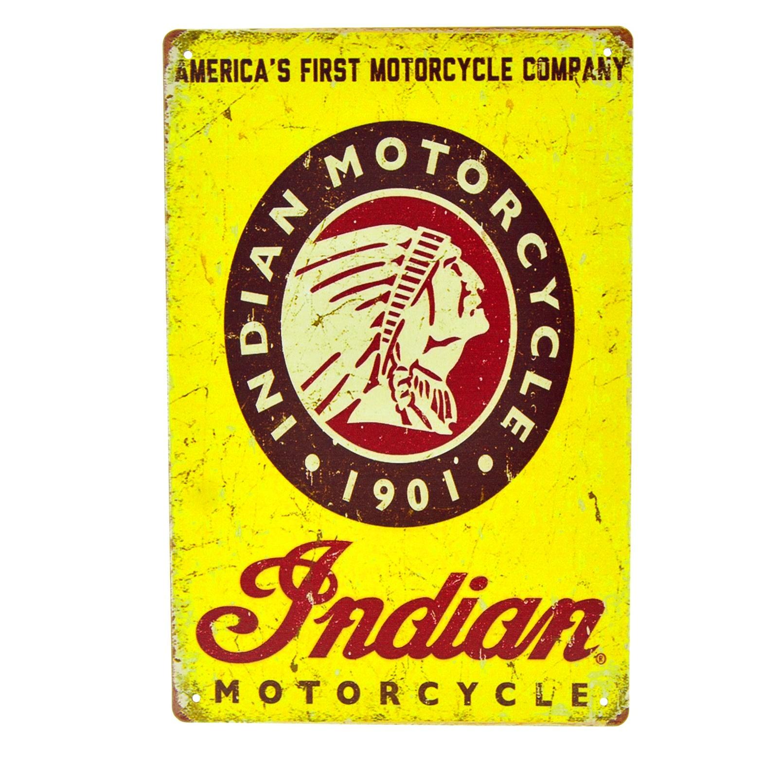 Cartel Metálico de Indian Motorcycles 1901