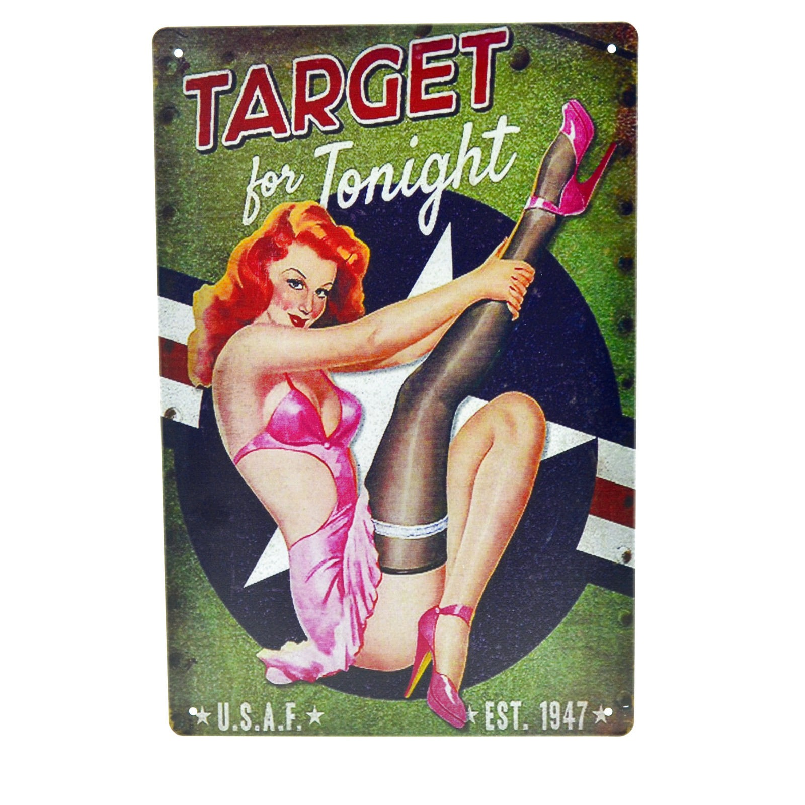 Cartel Metálico de Pin Up target for tonight