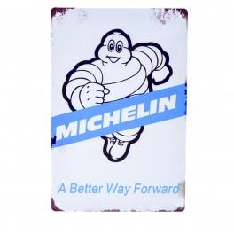 Cartel Metálico de Michelín blanco