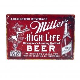 Cartel Metálico de Miller rojo