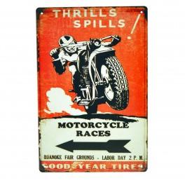 Cartel Metálico de Motorcycle Races