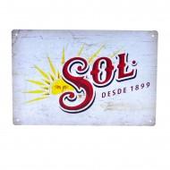 Cartel Metálico de Cerveza Sol