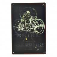 Cartel Metálico de Shine, moto skeleton